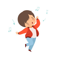 Boy singing and dancing lovely kid having fun and vector