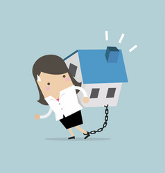 businesswoman carry her house debt with chained vector image