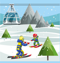 Cartoon skiers on ski lift station on the top of vector
