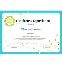 Certificate appreciation template nature theme vector