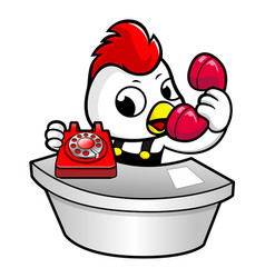 Chicken character is a phone call from the vector