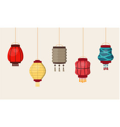 Chinese lantern traditional china culture vector