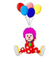 clown holding colorful balloon vector image