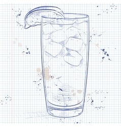 Cocktail Sea Breeze on a notebook page vector