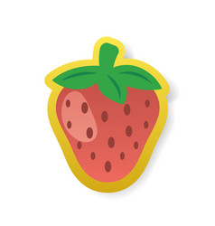 colorful red strawberry sticker vector image