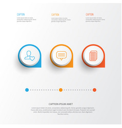 Communication icons set collection of internet vector