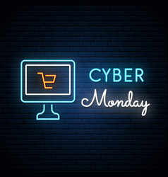 Cyber monday neon signboard computer sign vector