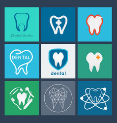 dental logo set dental icon collection vector image