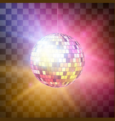 disco ball with bright rays on transparent vector image