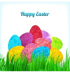 Easter background with ornament eggs on grass vector image