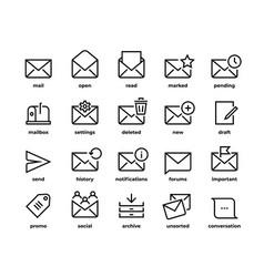 Email line icons application ui envelope symbols vector