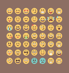 emoticons collection flat emoji set cute smileys vector image