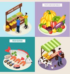farmer market 2x2 design concept vector image