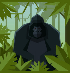 flat geometric jungle background with gorilla vector image