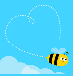 flying bee icon dash line heart big eyes happy vector image