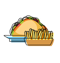 french fries and sandwich vector image