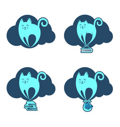 Funny flying cat on the cloud vector