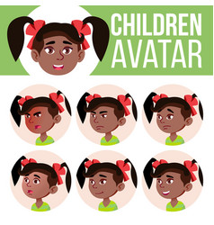 girl avatar set kid kindergarten black vector image