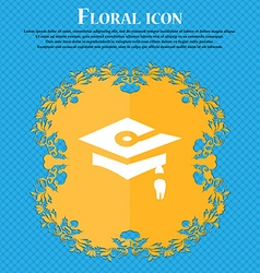 Graduation icon sign floral flat design on a blue vector