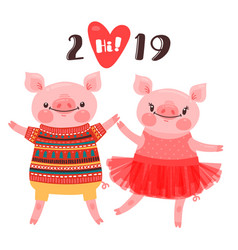 Happy 2019 new year card couple of funny piglets vector