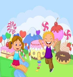 Happy children cartoon in the fantasy sweet land vector image