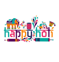 happy holi elements for card design happy vector image