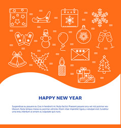 Happy new year banner template in line style vector