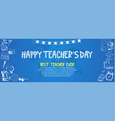 Happy teacher day with ribbon and school vector