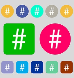 Hash tag icon 12 colored buttons Flat design vector