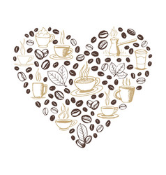 Heart shape filled coffee doodles vector