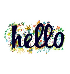 Hello word funny sticker design vector image