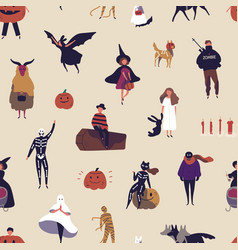 horror characters flat seamless pattern vector image