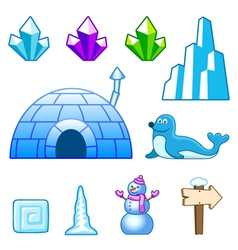 Ice world assets vector
