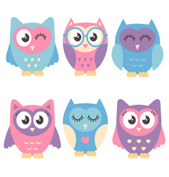 Icons of cute owls isolated on white vector