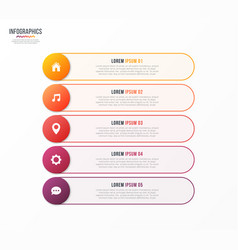 Infographic template with 5 options design vector