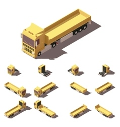 Isometric truck with cargo semi-trailer vector