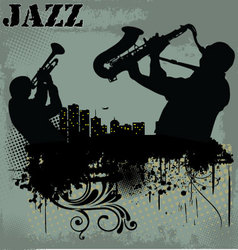 Jazz musician silhouette vector image
