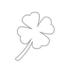 Leaf clover sign black dotted icon on vector