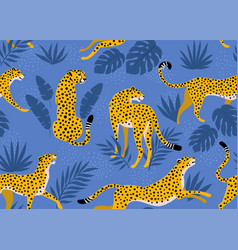 leopard pattern with tropical leaves vector image