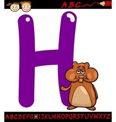 Letter h for hamster cartoon vector