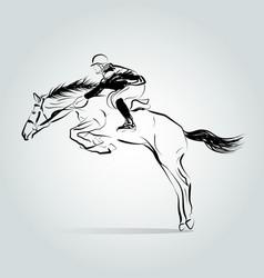 Line sketch horse rider vector