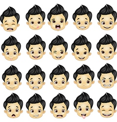 Little boy various face expressions vector