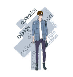 male model wear fashion clothes collection vector image