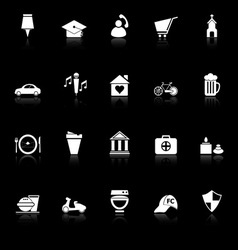 Map sign and symbol icons with reflect on black vector