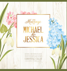 Marriage invitation card wedding card with spring vector
