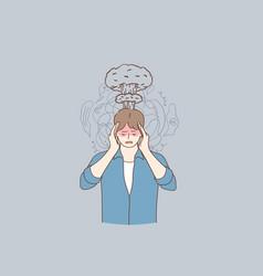 migraine stress headache concept vector image