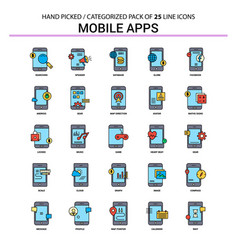 Mobile apps flat line icon set - business concept vector