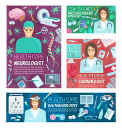 Neurology cardiology and ophthalmology medicine vector