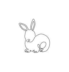 one single line drawing cute pose rabbit vector image