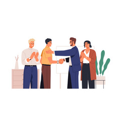 people congratulating colleague with success vector image